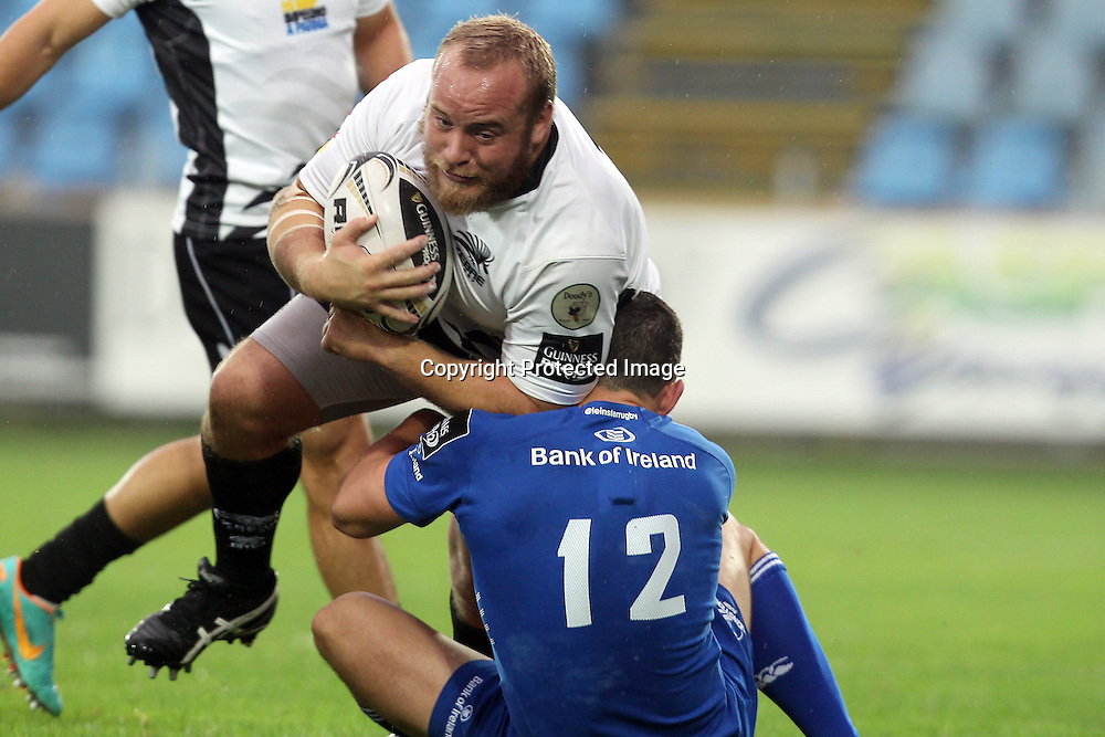 Guinness PRO12, Stadio XXV Aprile, Italy 11/10/2014<br /> Zebre vs Leinster<br /> Leinster's Noel Reid tackles Dario Chistolini of Zebre<br /> Mandatory Credit &copy;INPHO/Francesca Soli