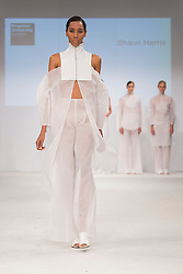 © Licensed to London News Pictures. 01/06/2015. London, UK. Collection by Shaun Harris. Fashion show of Kingston University at Graduate Fashion Week 2015. Graduate Fashion Week takes place from 30 May to 2 June 2015 at the Old Truman Brewery, Brick Lane. Photo credit : Bettina Strenske/LNP