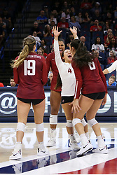 October 7, 2018 - Tucson, AZ, U.S. - TUCSON, AZ - OCTOBER 07: Washington State Cougars celebrates a winning the fourth set during a college volleyball game between the Arizona Wildcats and the Washington State Cougars on October 07, 2018, at McKale Center in Tucson, AZ. Washington State defeated Arizona 3-2. (Photo by Jacob Snow/Icon Sportswire) (Credit Image: © Jacob Snow/Icon SMI via ZUMA Press)