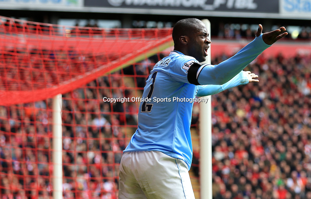 13th April 2014 - Barclays Premier League - Liverpool v Manchester City - Yaya Toure of Man City looks dejected - Photo: Simon Stacpoole / Offside.