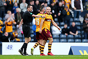 Curtis Main (#9) of Motherwell celebrates Motherwell's third goal (0-3) during the William Hill Scottish Cup Semi-Final match between Motherwell and Aberdeen at Hampden Park, Glasgow, United Kingdom on 14 April 2018. Picture by Craig Doyle.