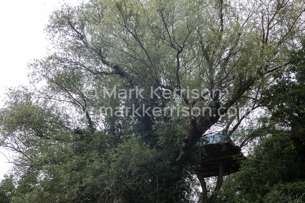 Denham, UK. 13 July, 2020. A tree house at Denham Protection Camp, which has been created by environmental activists from HS2 Rebellion in order to try to prevent the destruction of woodland for the £106bn HS2 high-speed rail link which will remain a net contributor to CO2 emissions during its projected 120-year lifetime.