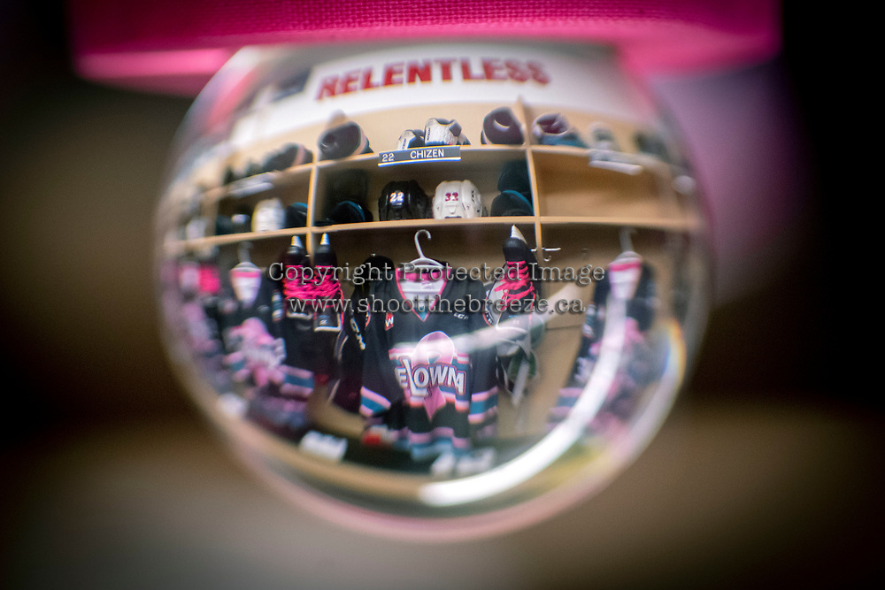 KELOWNA, CANADA - NOVEMBER 3: The dressing room locker of Braydyn Chizen #22 of the Kelowna Rockets is seen through a photography orb on Pink the Rink night against the Brandon Wheat Kings on November 3, 2018 at Prospera Place in Kelowna, British Columbia, Canada.  (Photo by Marissa Baecker/Shoot the Breeze)