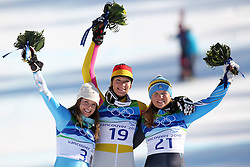 Olympic Winter Games Vancouver 2010 - Olympische Winter Spiele Vancouver 2010, Alpine Skiing (Ladies' Super Combined), Julia MANCUSO (USA), Maria RIESCH (GER) and Anja PAERSON (SWE) ***Photo by Malte Christians / HOCH ZWEI / SPORTIDA.com.