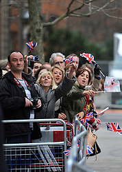 © Licensed to London News Pictures. 17 April 2013. St Paul's Cathedral London. Cheering crowd. Funeral of Baroness Thatcher, former Conservative Prime Minister. Photo credit : MarkHemsworth/LNP