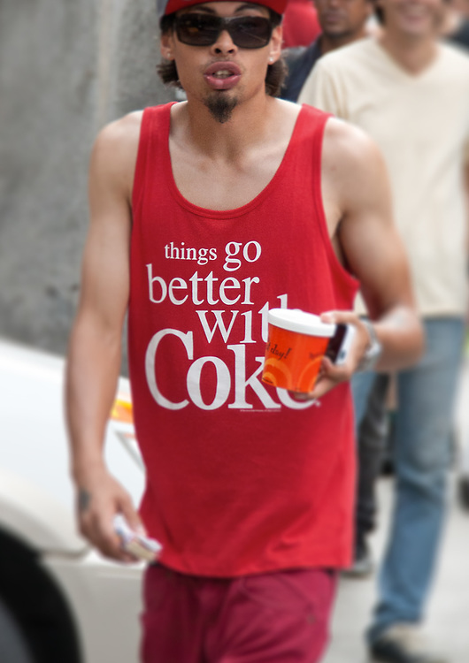 "Street candid of cool dude with ""things go better with coke"" shirt. NYC 2013"