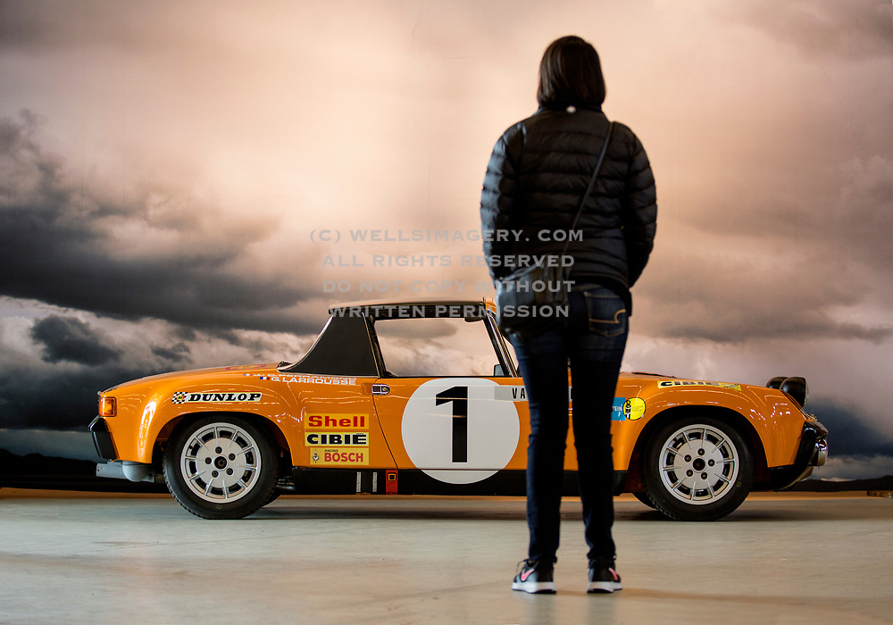 Image of an orange 1971 Porsche 914-6 GT rally car on display at Luftgekuehlt in San Pedro, California, America west coast