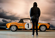 Image of an orange 1971 Porsche 914-6 GT rally car on display at Luftgekuehlt in San Pedro, California, America west coast