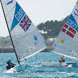 2012 Olympic Games London / Weymouth<br /> Finn Medal Race<br /> Ainslie Ben, (GBR, Finn)<br /> Hoegh-Christensen Jonas, (DEN, Finn)