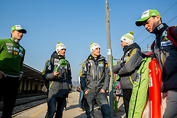 Athletes prior to the departure of a train Ljubljana - Jesenice where will be placed press conference of Slovenian Ski jumping team, on March 18, 2015 in Ljubljana train station, Slovenia. Photo by Vid Ponikvar / Sportida