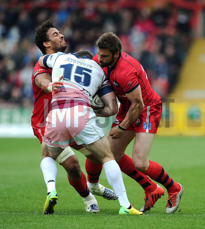 Bristol replacement Nicky Robinson and Bristol replacement Marco Mama tackle Rotherham Full Back Sean Scanlon  - Photo mandatory by-line: Joe Meredith/JMP - Mobile: 07966 386802 - 02/05/2015 - SPORT - Rugby - Bristol - Ashton Gate - Bristol Rugby v Rotherham - Greene King IPA Championship