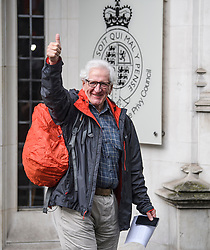 © Licensed to London News Pictures. 24/09/2019. London, UK. A member of the public is seen smiling and giving a thumbs up while leaving the  The Supreme Court in London,  following a ruling on an appeal against a judicial review of Boris Johnson's suspension of Parliament. The case has been brought by remain campaigner Gina Miller, with support from former British Prime Minister John Major. Photo credit: Ben Cawthra/LNP