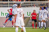 VELSEN - 22-08-2016, Telstar - Helmond Sport, Rabobank IJmond Stadion, SC Telstar speler Crescendo van Berkel kopt hier de 1-0 binnen, doelpunt.