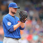 NEW YORK, NEW YORK - July 03: Pitcher Jon Lester #34 of the Chicago Cubs pitching during the Chicago Cubs Vs New York Mets regular season MLB game at Citi Field on July 03, 2016 in New York City. (Photo by Tim Clayton/Corbis via Getty Images)