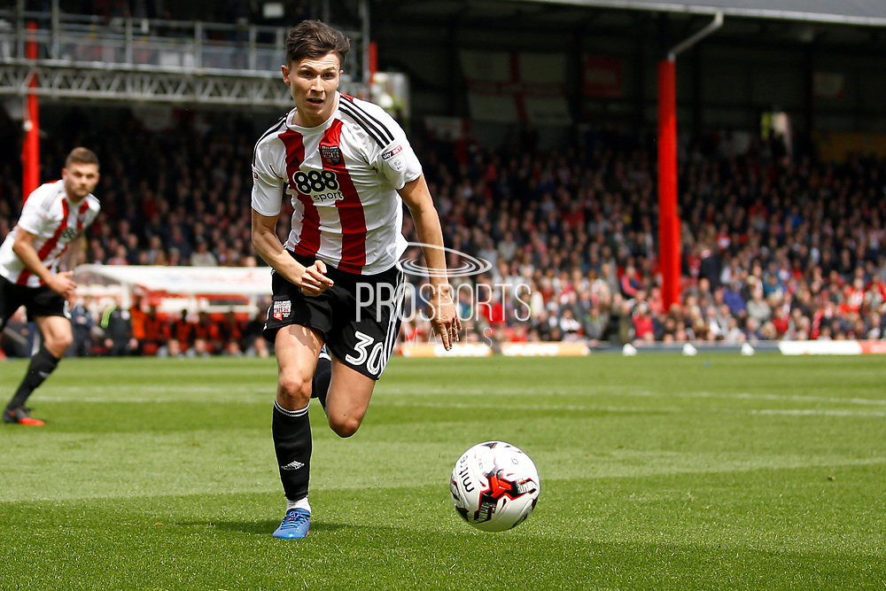 Brentford defender Tom Field (30) (Score 0-2) during the EFL Sky Bet Championship match between Brentford and Blackburn Rovers at Griffin Park, London, England on 7 May 2017. Photo by Andy Walter.