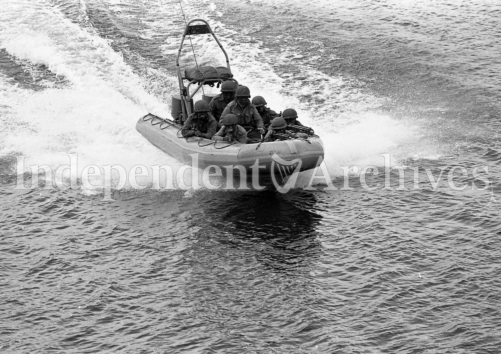 Irish Army Ranger Wing Training Drill, Marine Exercises and Landing Drills, at the Curragh, 23/10/1984 (Part of the Independent Newspapers Ireland/NLI Collection).