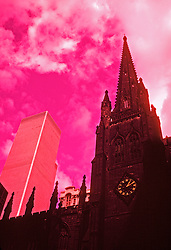 World trade center twin towers, church steeple. Abstract design image pre 9/11 death destruction terror terrorist terrorism