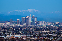 10,068 ft. Mount Baldy Behind Downtown Los Angeles Skyline, California