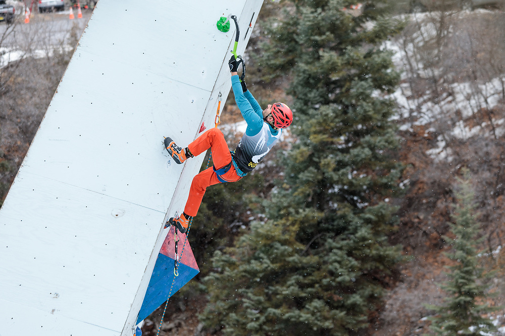 Sam Elias climbing at Ouray Ice Festival mixed competition