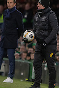 Celtic Manager Neil Lennon catches the ball during the Europa League match between Celtic and Rennes at Celtic Park, Glasgow, Scotland on 28 November 2019.