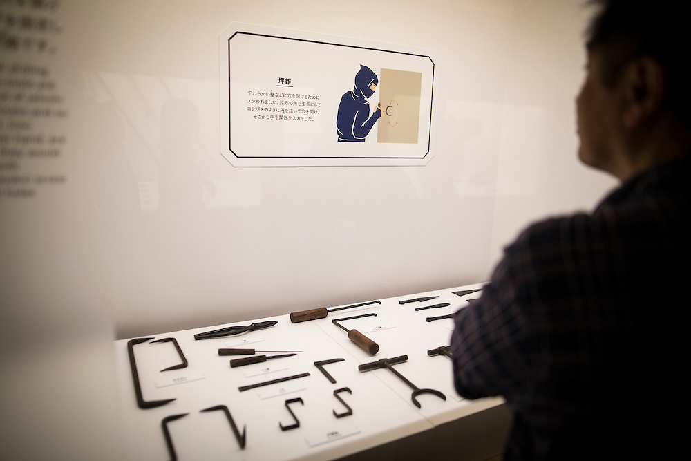 """TOKYO, JAPAN - JULY 2 : A Japanese man look at ninja's weapon on display during a ninja exhibition that kicks off Saturday at Miraikan in Tokyo, Japan on July 2, 2016. A special exhibition entitled """"The Ninja- who were they?"""" will be open from July 2 (Saturday), 2016 to October 10 (Monday) 2016 at the Miraikan (National Museum of Emerging Science and Innovation). Photo: Richard Atrero de Guzman"""