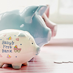 Baby's first piggy bank.