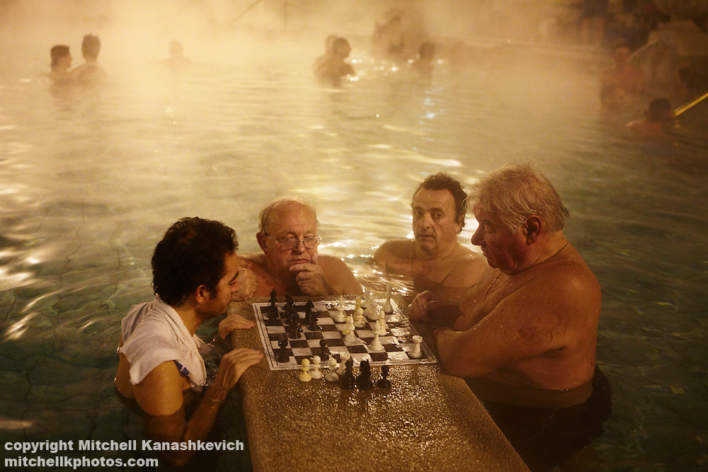 Men playing chess at Szechenyi Baths, Budapest, Hungary
