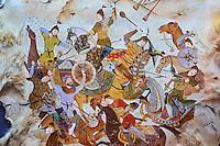 Ouzbekistan, Tashkent, place Tamerlan, Musée Tamerlan, fresque représentant une bataille // Uzbekistan, Tashkent, Tamerlan square, Tamerlan museum,  fresco, battle