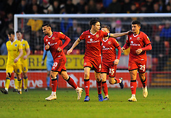 Josh Gordon of Walsall scores a goal making it 1-2 - Mandatory by-line: Nizaam Jones/JMP - 26/12/2018 - FOOTBALL - Banks's Stadium - Walsall, England- Walsall v Bristol Rovers - Sky Bet League One