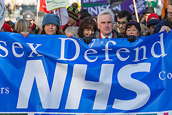 © Licensed to London News Pictures. 21/01/2017. Brighton, UK. Shadow Chancellor of the Exchequer and Labour MP for Hayes and Harlington John McDonnell joins members of the NHS and Trade Union members in a protest against the planned Sustainability and Transformation plans. Photo credit: Hugo Michiels/LNP