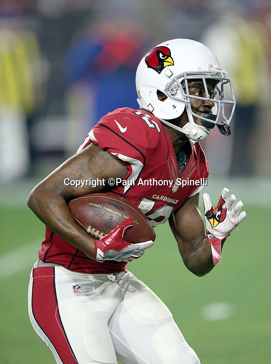 Arizona Cardinals wide receiver John Brown (12) runs a reverse during the NFL NFC Divisional round playoff football game against the Green Bay Packers on Saturday, Jan. 16, 2016 in Glendale, Ariz. The Cardinals won the game in overtime 26-20. (©Paul Anthony Spinelli)