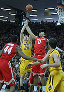 January 07, 2011: Iowa Hawkeyes forward Aaron White (30) and Ohio State Buckeyes forward Jared Sullinger (0) battle for a rebound during the the NCAA basketball game between the Ohio State Buckeyes and the Iowa Hawkeyes at Carver-Hawkeye Arena in Iowa City, Iowa on Saturday, January 7, 2012.