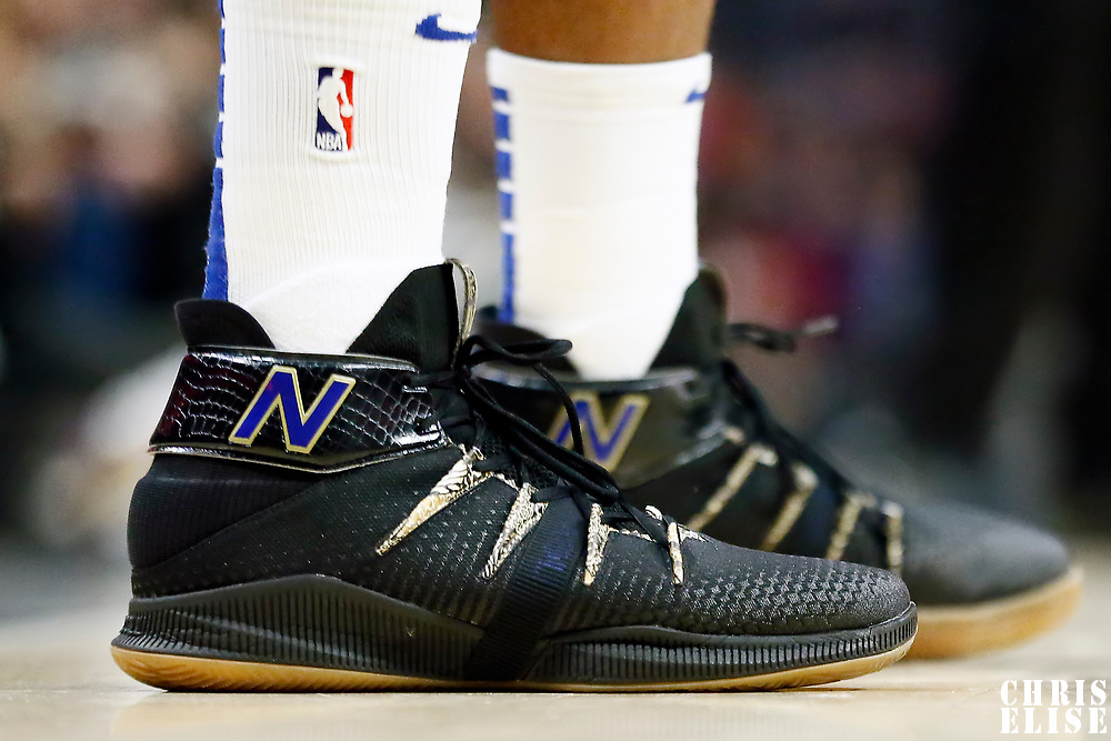 LOS ANGELES, CA - OCT 28: Close view of Kawhi Leonard (2) of the LA Clippers shoes during a game on October 28, 2019 at the Staples Center, in Los Angeles, California.