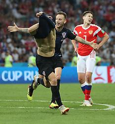SOCHI, July 7, 2018  Domagoj Vida (L) of Croatia celebrates scoring during the 2018 FIFA World Cup quarter-final match between Russia and Croatia in Sochi, Russia, July 7, 2018. (Credit Image: © Cao Can/Xinhua via ZUMA Wire)