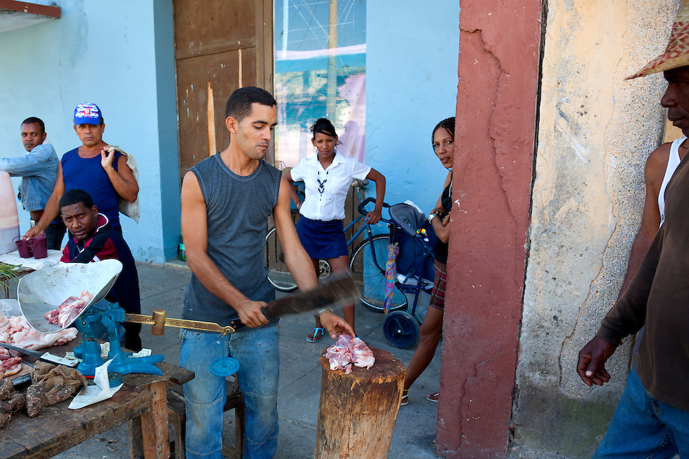 Selling meat in the street in Cueto, Holguin, Cuba.