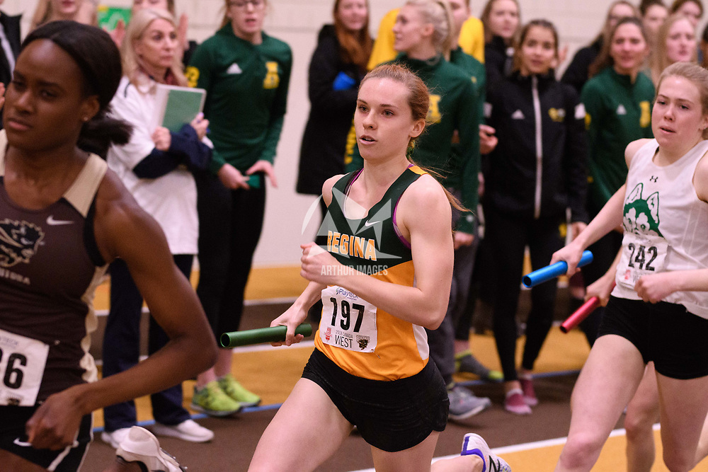 Michaela Allen in action during the 2018 Canada West Track & Field Championship on February  24 at James Daly Fieldhouse. Credit: Arthur Ward/Arthur Images
