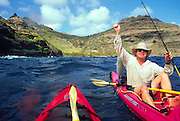 Kayak fishing, Kauai, Hawaii<br />