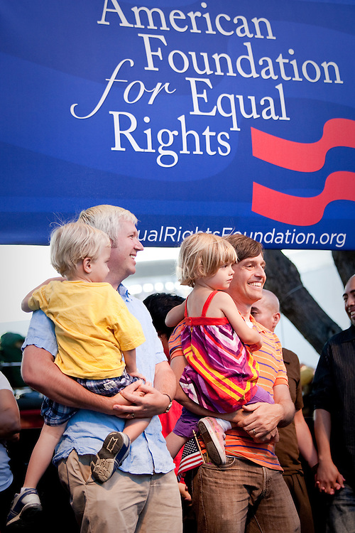 Gay Couple Frank and Jim Reifsnyder-Smith along with their two twin children, son Milo and daughter Kaylee, attends a rally to show their support after Prop. 8 was overturned.