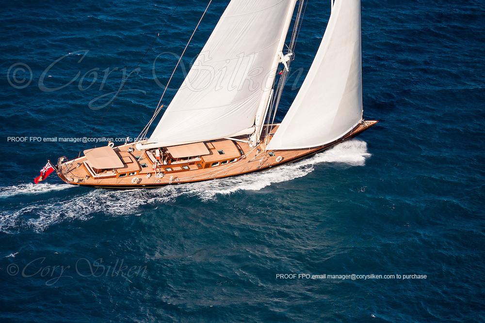 Aerial photographs of S/Y Pumula sailing in Antigua.