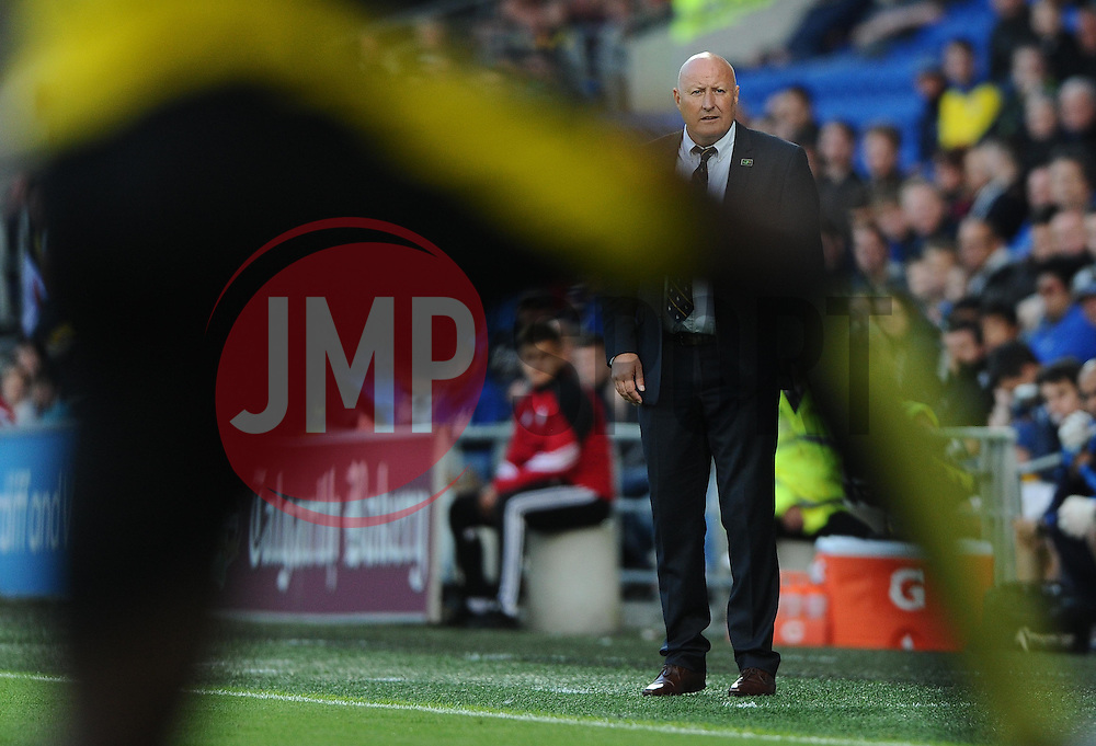 Cardiff City Manager, Russell Slade watches on   - Mandatory by-line: Joe Meredith/JMP - 07966386802 - 28/07/2015 - SPORT - FOOTBALL - Cardiff,Wales - Cardiff City Stadium - Cardiff City v Watford - Pre-Season Friendly