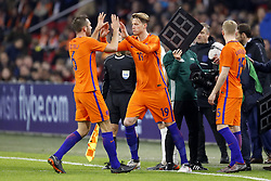 (L-R) Stefan de Vrij of Holland, Wout Weghorst of Holland, Donny van de Beek of Holland during the International friendly match match between The Netherlands and England at the Amsterdam Arena on March 23, 2018 in Amsterdam, The Netherlands
