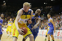 01.11.2014, EWE Arena, Oldenburg, GER, Beko Basketball BL, EWE Baskets Oldenburg vs Basketball Löwen Braunschweig, 7. Runde, im Bild Philipp Neumann (Baskets Oldenburg) gegen Derrick Allen (Braunschweig) //  during the Beko Basketball Bundes league 7th round match between EWE Baskets Oldenburg vs Basketball Lions Braunschweig at the EWE Arena in Oldenburg, Germany on 2014/11/01. EXPA Pictures © 2014, PhotoCredit: EXPA/ Eibner-Pressefoto/ Hibbeler<br /> <br /> *****ATTENTION - OUT of GER*****