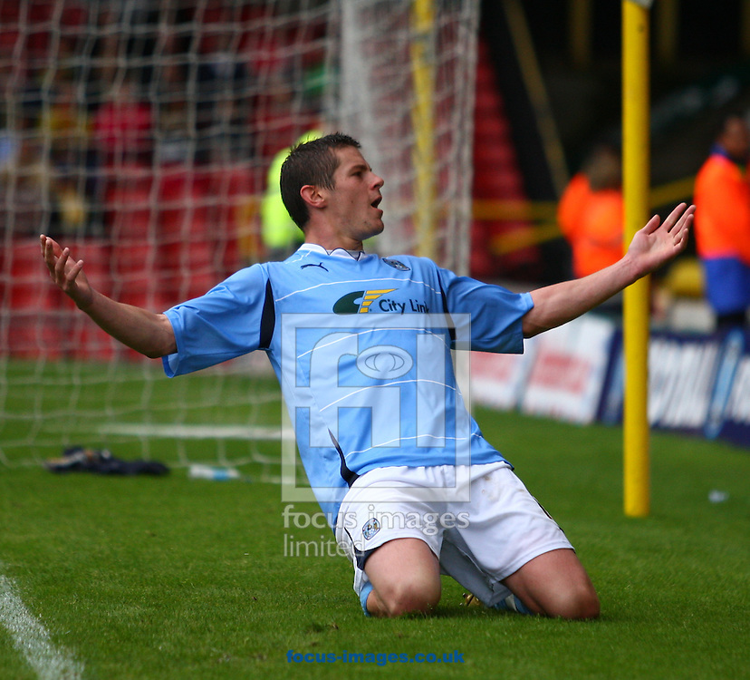 Watford - Saturday August 14, 2010: Lukas Jutkiewicz (11) of Coventry City celebrates after scoring their second goal from the penalty spot during the Npower Championship match between Watford and Coventry City at Vicarage Road, Watford. (Pic by Andrew Tobin/Focus Images)