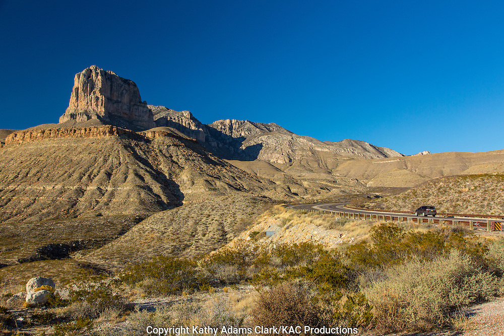 El Capitan, at 8,078 feet, dominates the landscape of Guadalupe Mountains National Park in far west Texas.  Guadalupe Peak, behind El Capitan, is the highest peak in Texas at 8,749 feet.