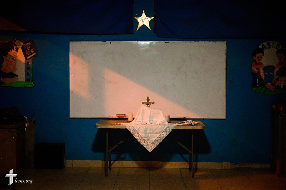 The altar at Castillo Fuerte in San Juan de Lurigancho on Tuesday Nov. 7 2017, in Peru.  LCMS Communications/Erik M. Lunsford