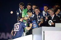 joie PSG / Zlatan Ibrahimovic / Nasser Al Khelaifi / Frederic Thiriez - PSG Champion - 23.05.2015 - PSG / Reims - 38eme journee de Ligue 1<br /> Photo : Andre Ferreira / Icon Sport