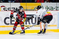 26.02.2016, Ice Rink, Znojmo, CZE, EBEL, HC Orli Znojmo vs Dornbirner Eishockey Club, Viertelfinale, 1. Spiel, im Bild v.l. David Bartos (HC Orli Znojmo) Olivier Magnan (Dornbirner) // during the Erste Bank Icehockey League 1st quarterfinal match between HC Orli Znojmo and Dornbirner Eishockey Club at the Ice Rink in Znojmo, Czech Republic on 2016/02/26. EXPA Pictures © 2016, PhotoCredit: EXPA/ Rostislav Pfeffer