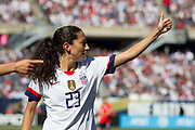 USA forward Christen Press encourages a teammate against South Korea during an international friendly in Chicago, Sunday, Oct. 6, 2019, in Chicago. USWNT tied the Korea Republic 1-1. (Max Siker/Image of Sport)