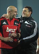 Dan Carter (right) jokes with Willi Heinz after the win. Super 15 rugby union match - Crusaders v Chiefs at McLean Park, Napier, New Zealand on Saturday, 21 May 2011. Photo: Dave Lintott / photosport.co.nz