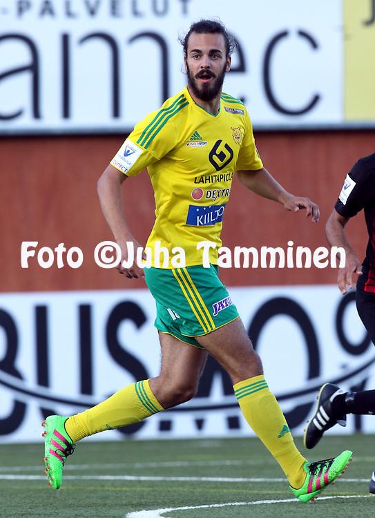 2.8.2016, Myyrm&auml;en jalkapallostadion, Vantaa.<br /> Veikkausliiga 2016.<br /> Pallokerho-35 Vantaa - Ilves.<br /> Diogo Tomas - Ilves